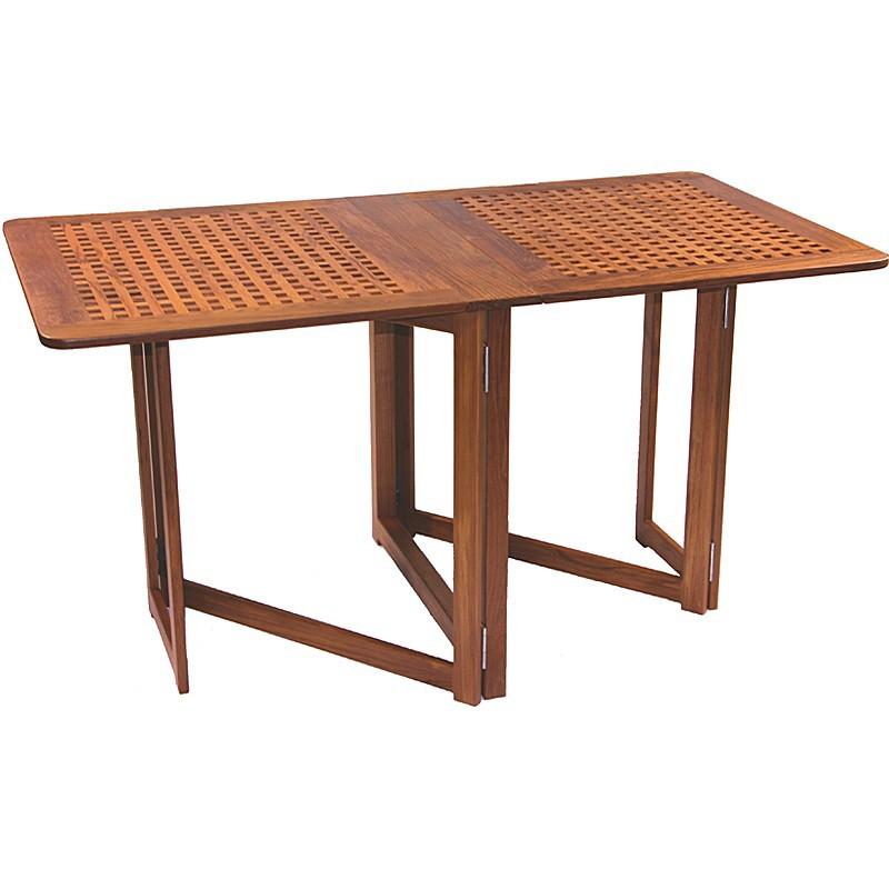 table en teck miami avec pieds compas. Black Bedroom Furniture Sets. Home Design Ideas