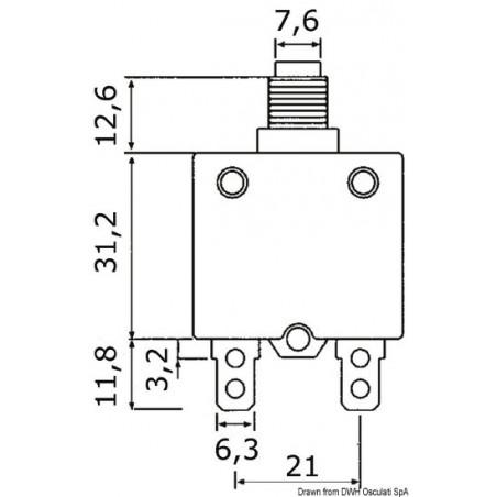 Bouton disjoncteur thermique