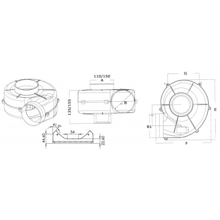 Aspirateur centrifuge fixation étrier