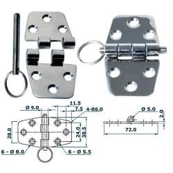 Charnière inox 2 mm 72x38,5