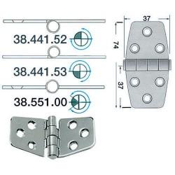 Charnière inox 2 mm 74x37