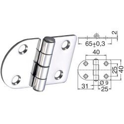Charnière inox 2 mm 65x40