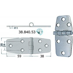 Charnière inox 2,5 mm 97x38