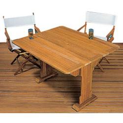 Table teck à côtés rabattables