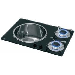 Evier + plan de cuisson cristal/inox